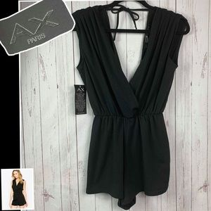 AX PARIS romper women's xs black NWT